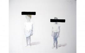 Border-dreams-à-deux.-Encre,-crayon-et-peinture-sur-papier-quadrillé.-70X50--cm
