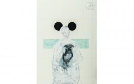 Deux-cercles-noirs-de-chaque-coté.-Crayon,--acrylique-et-gouache-sur-papier.-39X29-cm