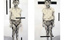 45. SITE WEB PAINTINGS- Doppelgänger... Dyptique , Encre, crayon, acrylique et vernis sur toile, 90X160 cm chacun, 2006 (collection particulière)