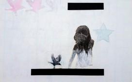 78. SITE WEB DRAWINGS-Tree birds, encre, gouache et collage sur sérigraphie, 50x60 cm, 2012
