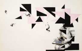 79. SITE WEB DRAWINGS-Five. encre, gouache, crayon et vernis sur sérigraphie, 50x70 cm, 2013
