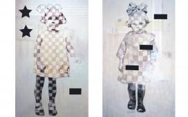 SITE WEB PAINTINGS- Little girls  , Encre, crayon, acrylique et vernis sur toile, 90X160 cm chacun, 2006 (collection particulière)