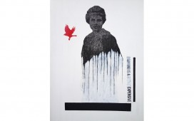 SITE WEB PAINTINGS-Red bird, Gouache et encre sur sérigraphie,  70X50  cm, 2013